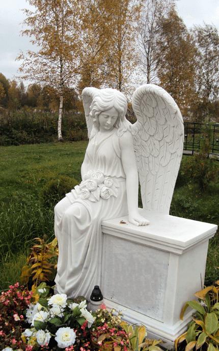 Изготовление памятников в виде ангела из белого мрамора